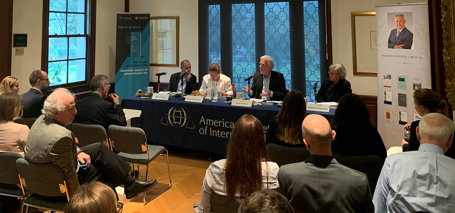 (From left) Mark Bromley, Sarah Mendelson, Hurst Hannum, and Elizabeth Andersen discuss the international human rights system at the American Society of International Law in Washington, DC on Thursday, October 31, 2019.