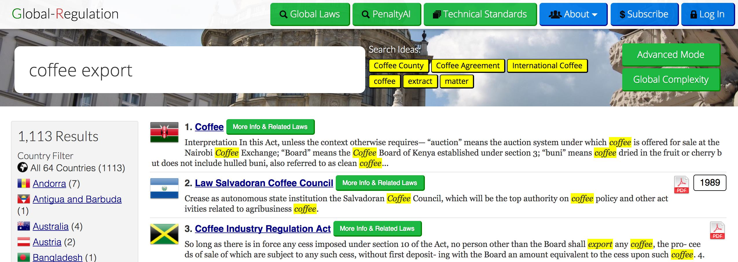 Global-Regulation Search Engine