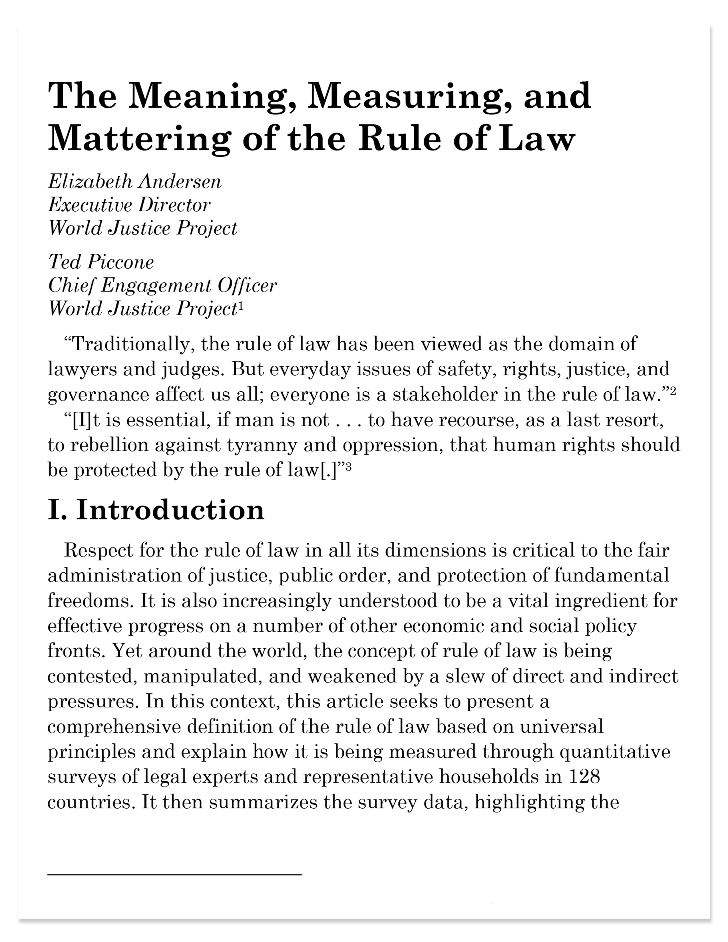 The Meaning, Measuring, and Mattering of the Rule of Law