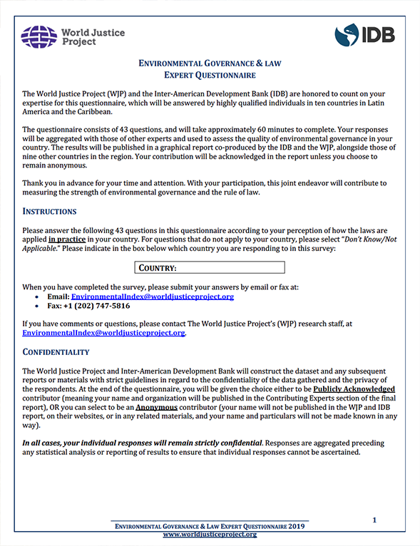 Environmental Qualified Respondents Questionnaire (EQRQ) Survey Instrument